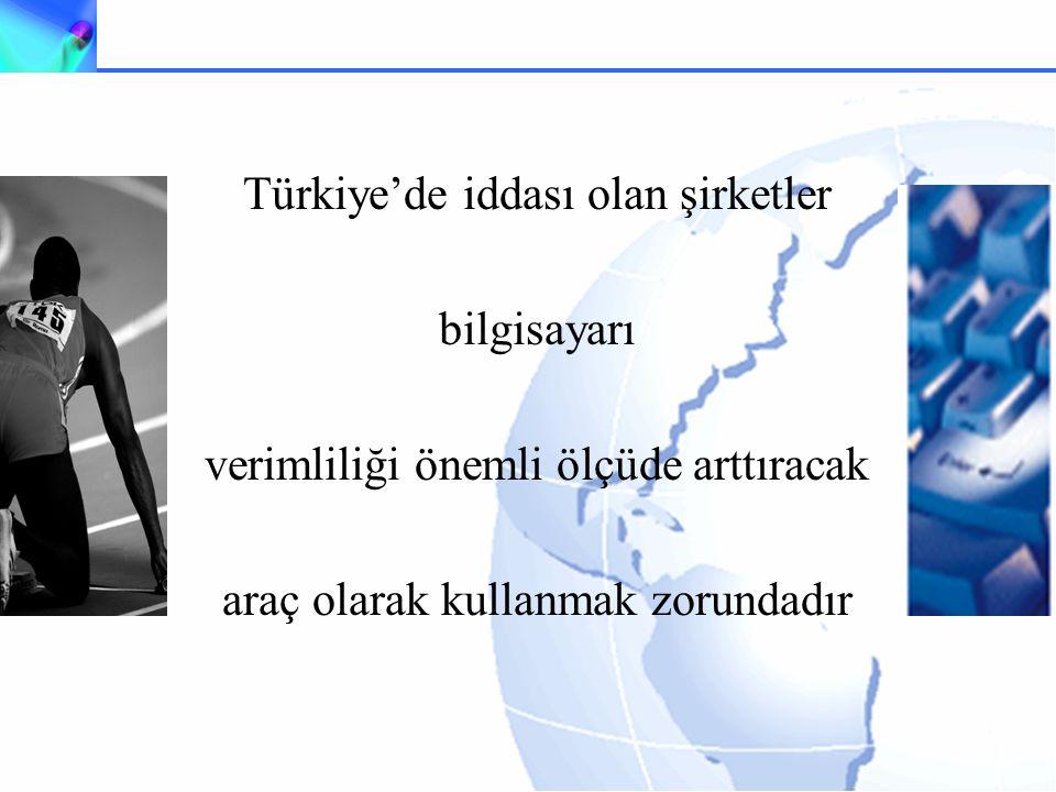 Türkiye'de iddası olan şirketler bilgisayarı verimliliği önemli ölçüde arttıracak araç olarak kullanmak zorundadır