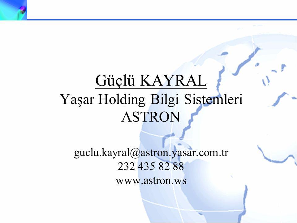 Güçlü KAYRAL Yaşar Holding Bilgi Sistemleri ASTRON guclu.kayral@astron.yasar.com.tr 232 435 82 88 www.astron.ws