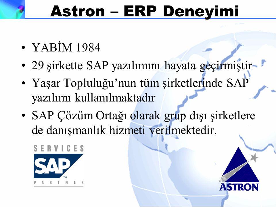Astron – ERP Deneyimi YABİM 1984 29 şirkette SAP yazılımını hayata geçirmiştir Yaşar Topluluğu'nun tüm şirketlerinde SAP yazılımı kullanılmaktadır SAP Çözüm Ortağı olarak grup dışı şirketlere de danışmanlık hizmeti verilmektedir.