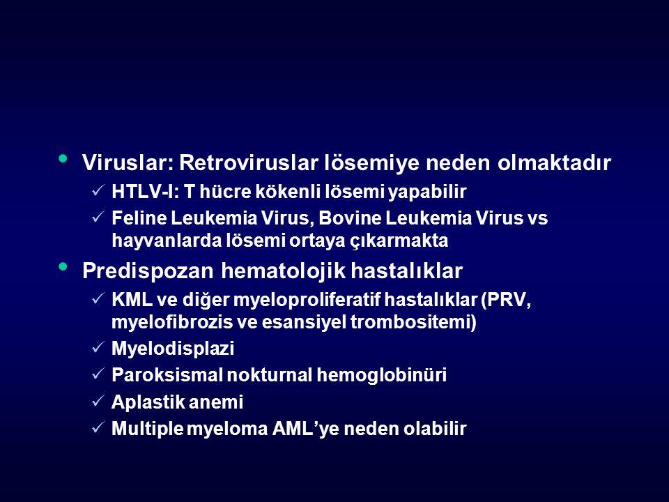 Viruslar: Retroviruslar lösemiye neden olmaktadır HTLV-I: T hücre kökenli lösemi yapabilir Feline Leukemia Virus, Bovine Leukemia Virus vs hayvanlarda lösemi ortaya çıkarmakta Predispozan hematolojik hastalıklar KML ve diğer myeloproliferatif hastalıklar (PRV, myelofibrozis ve esansiyel trombositemi) Myelodisplazi Paroksismal nokturnal hemoglobinüri Aplastik anemi Multiple myeloma AML'ye neden olabilir