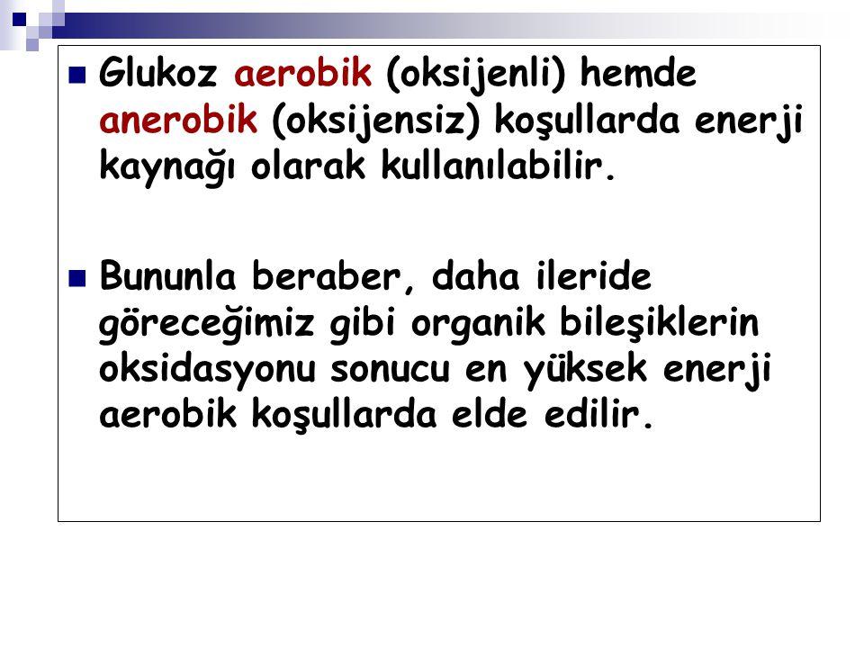 Glukoz aerobik (oksijenli) hemde anerobik (oksijensiz) koşullarda enerji kaynağı olarak kullanılabilir. Bununla beraber, daha ileride göreceğimiz gibi