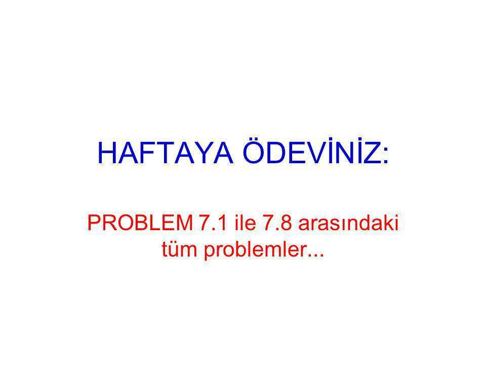 HAFTAYA ÖDEVİNİZ: PROBLEM 7.1 ile 7.8 arasındaki tüm problemler...