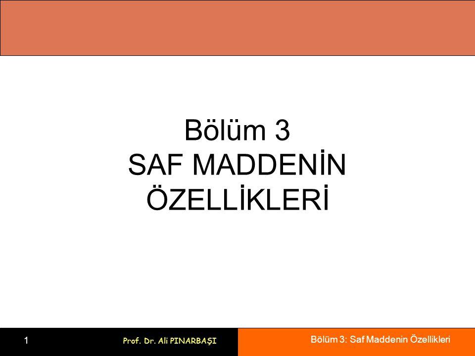 Bölüm 3: Saf Maddenin Özellikleri 1 Prof. Dr. Ali PINARBAŞI Bölüm 3 SAF MADDENİN ÖZELLİKLERİ