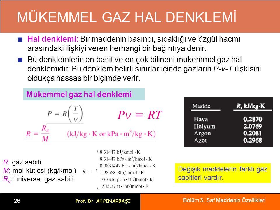 Bölüm 3: Saf Maddenin Özellikleri 26 Prof. Dr. Ali PINARBAŞI MÜKEMMEL GAZ HAL DENKLEMİ Hal denklemi: Bir maddenin basıncı, sıcaklığı ve özgül hacmi ar