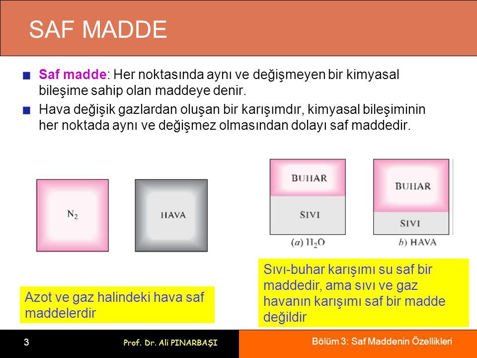 Bölüm 3: Saf Maddenin Özellikleri 3 Prof. Dr. Ali PINARBAŞI SAF MADDE Saf madde: Her noktasında aynı ve değişmeyen bir kimyasal bileşime sahip olan ma