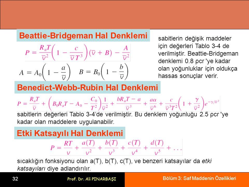 Bölüm 3: Saf Maddenin Özellikleri 32 Prof. Dr. Ali PINARBAŞI Beattie-Bridgeman Hal Denklemi sabitlerin değişik maddeler için değerleri Tablo 3-4 de ve