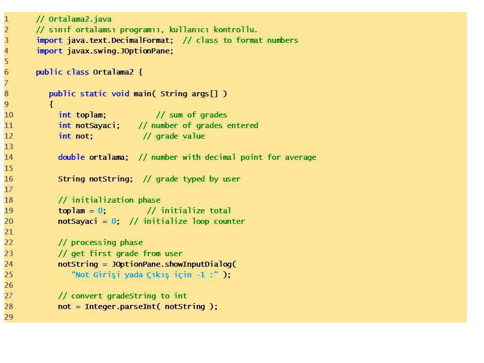 1 // Ortalama2.java 2 // sınıf ortalamsı programıı, kullanıcı kontrollu. 3 import java.text.DecimalFormat; // class to format numbers 4 import javax.s