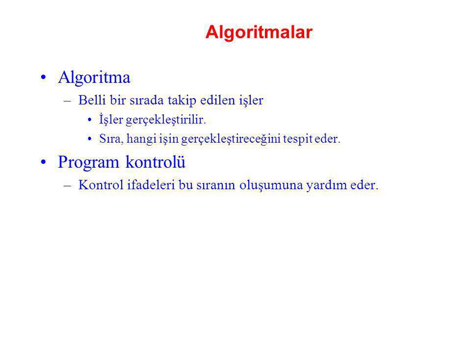 Algoritmalar Algoritma –Belli bir sırada takip edilen işler İşler gerçekleştirilir. Sıra, hangi işin gerçekleştireceğini tespit eder. Program kontrolü