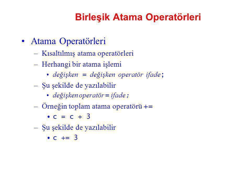 Birleşik Atama Operatörleri Atama Operatörleri –Kısaltılmış atama operatörleri –Herhangi bir atama işlemi değişken = değişken operatör ifade ; –Şu şek