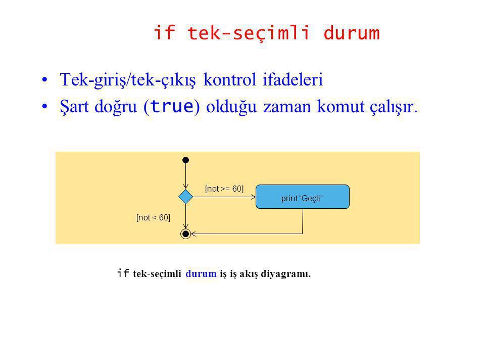 if tek-seçimli durum Tek-giriş/tek-çıkış kontrol ifadeleri Şart doğru ( true ) olduğu zaman komut çalışır. if tek-seçimli durum iş iş akış diyagramı.