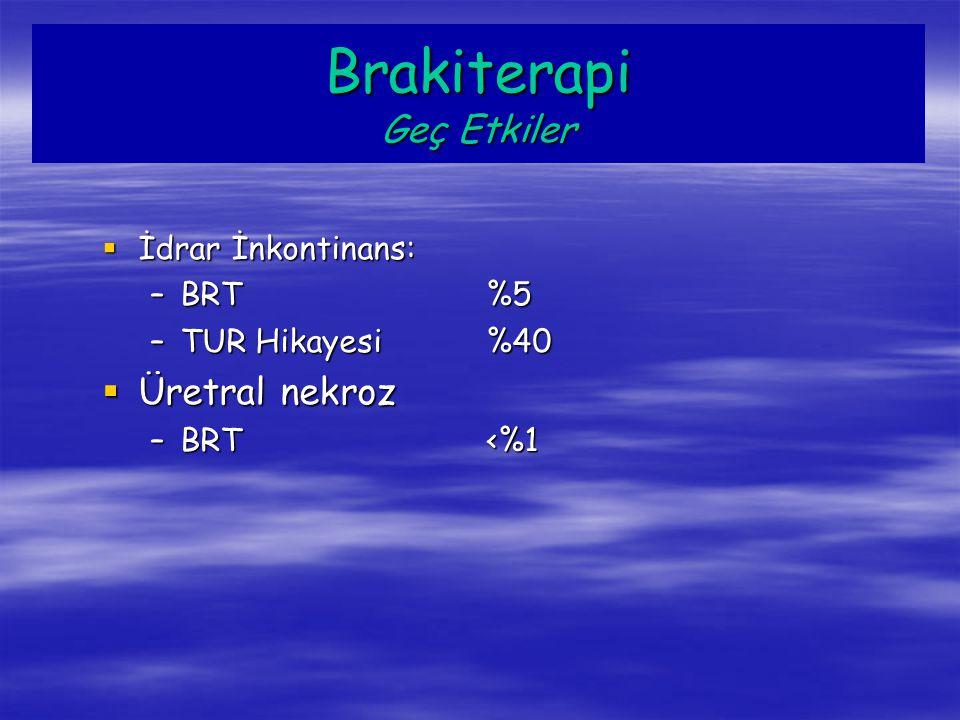  İdrar İnkontinans: –BRT%5 –TUR Hikayesi%40  Üretral nekroz –BRT<%1 Brakiterapi Geç Etkiler