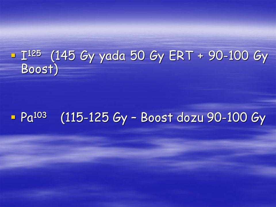 Prostat brakiterapisi endikasyonları Önerilir Sonuç iyi İdeal Olgu Opsiyonel Sonuç orta Araştırma amaçlı Sonuç kötü PSA (ng/ml) Gleason skoru EvreIPSS Prostat volümü (g) Q max ml/s Rezidüel volüm (cm 3 ) TRUP + <105-6T1c-T2a0-8<40>1510-207T2b-T2c9-1940-6015-10>208-10T3>20>60<10>200+