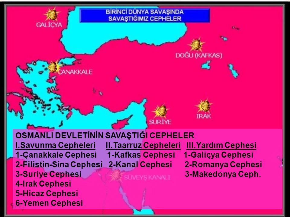 2 OSMANLI DEVLETİNİN SAVAŞTIĞI CEPHELER I.Savunma Cepheleri II.Taarruz Cepheleri III.Yardım Cephesi 1-Çanakkale Cephesi 1-Kafkas Cephesi 1-Galiçya Cep