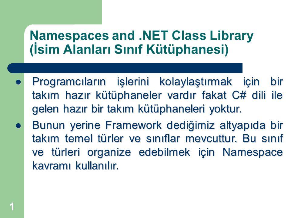 1 Namespaces and.NET Class Library (İsim Alanları Sınıf Kütüphanesi) Programcıların işlerini kolaylaştırmak için bir takım hazır kütüphaneler vardır fakat C# dili ile gelen hazır bir takım kütüphaneleri yoktur.