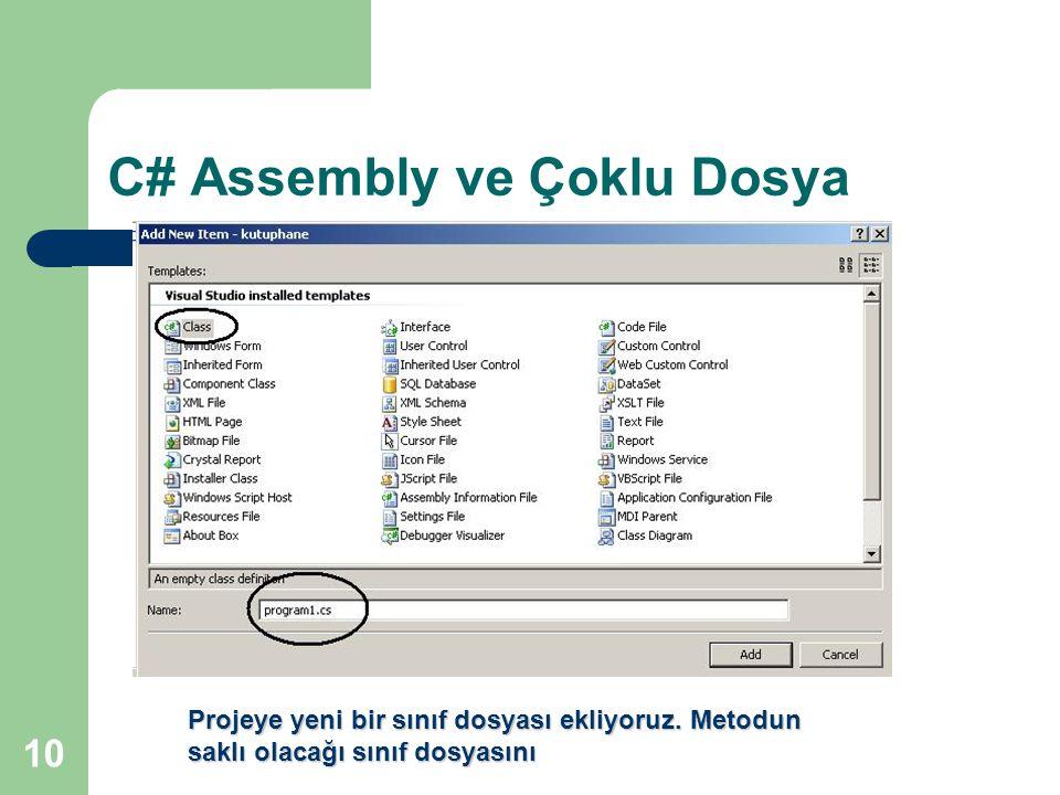 10 C# Assembly ve Çoklu Dosya Projeye yeni bir sınıf dosyası ekliyoruz. Metodun saklı olacağı sınıf dosyasını