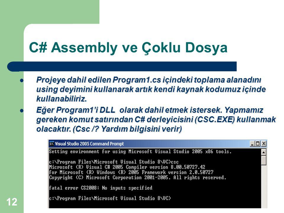 12 C# Assembly ve Çoklu Dosya Projeye dahil edilen Program1.cs içindeki toplama alanadını using deyimini kullanarak artık kendi kaynak kodumuz içinde kullanabiliriz.
