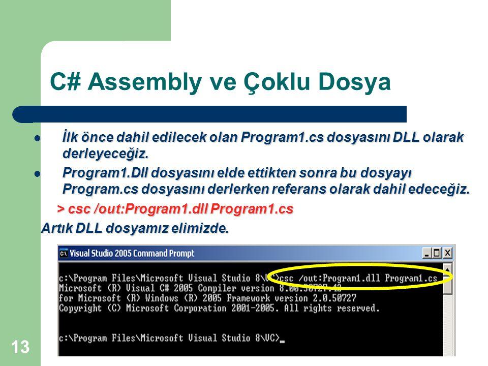13 C# Assembly ve Çoklu Dosya İlk önce dahil edilecek olan Program1.cs dosyasını DLL olarak derleyeceğiz. İlk önce dahil edilecek olan Program1.cs dos