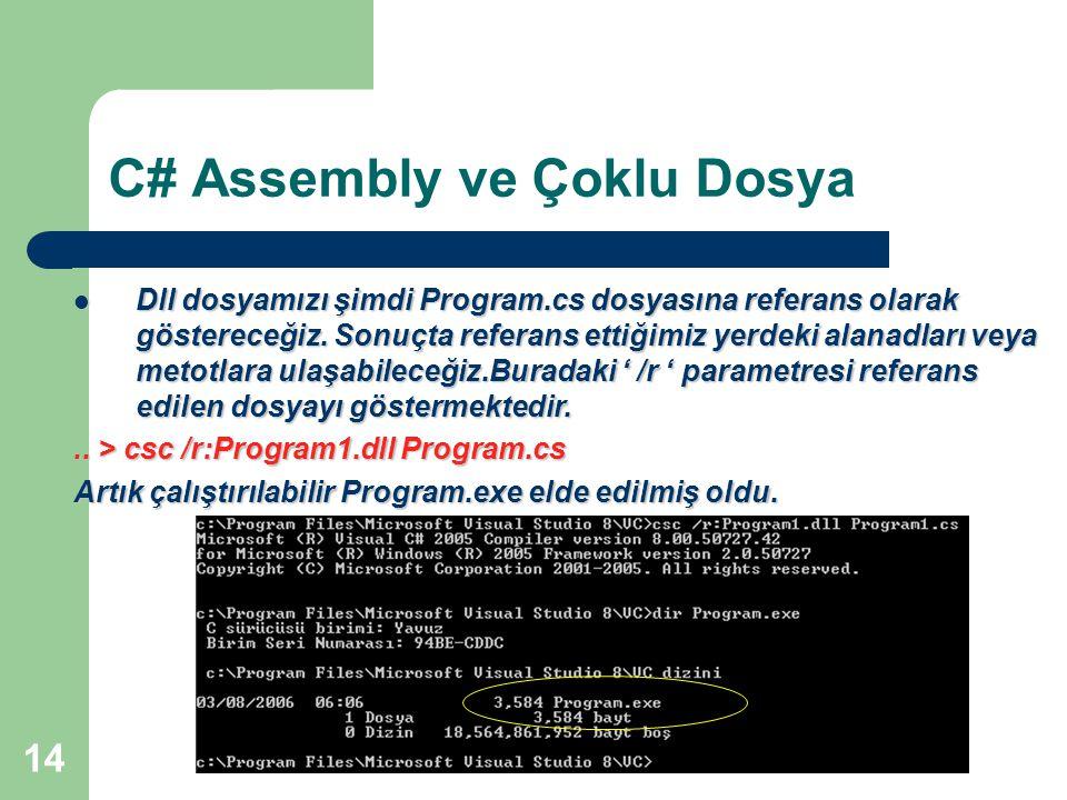 14 C# Assembly ve Çoklu Dosya Dll dosyamızı şimdi Program.cs dosyasına referans olarak göstereceğiz. Sonuçta referans ettiğimiz yerdeki alanadları vey