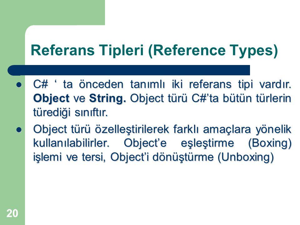 20 Referans Tipleri (Reference Types) C# ' ta önceden tanımlı iki referans tipi vardır. Object ve String. Object türü C#'ta bütün türlerin türediği sı