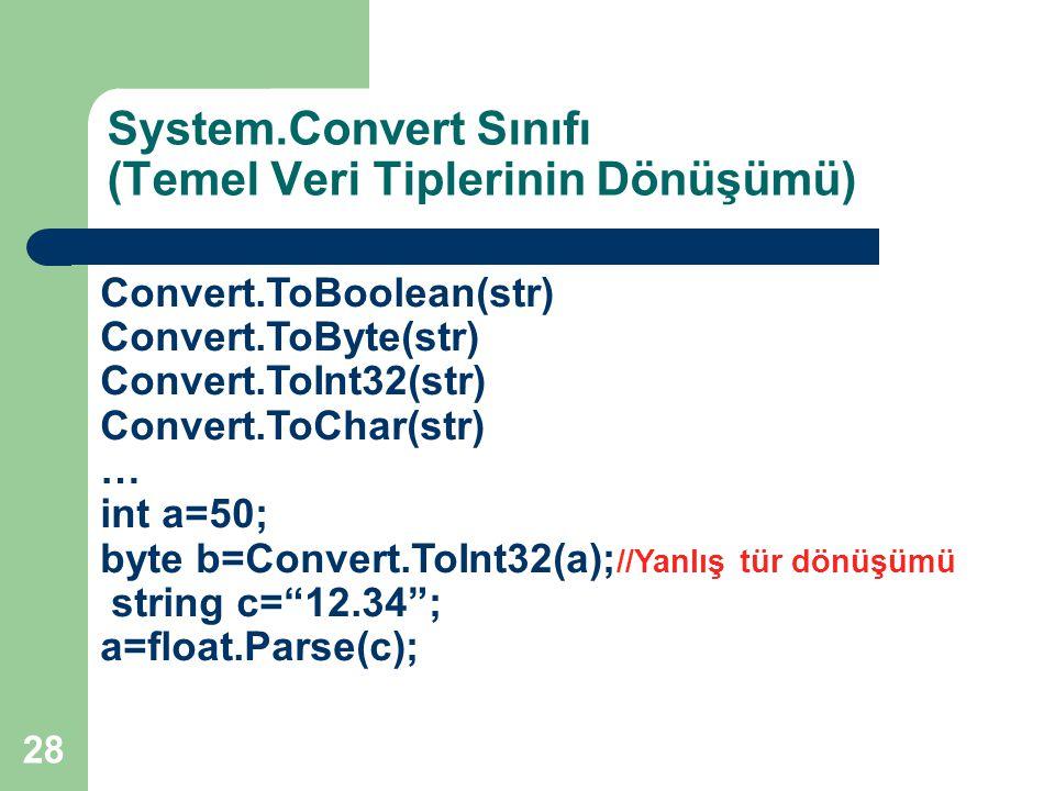 28 System.Convert Sınıfı (Temel Veri Tiplerinin Dönüşümü) Convert.ToBoolean(str) Convert.ToByte(str) Convert.ToInt32(str) Convert.ToChar(str) … int a=50; byte b=Convert.ToInt32(a); //Yanlış tür dönüşümü string c= 12.34 ; a=float.Parse(c);