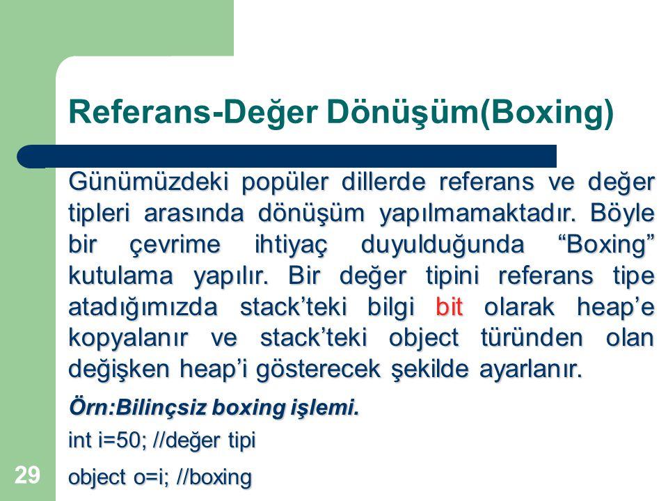 29 Referans-Değer Dönüşüm(Boxing) Günümüzdeki popüler dillerde referans ve değer tipleri arasında dönüşüm yapılmamaktadır.