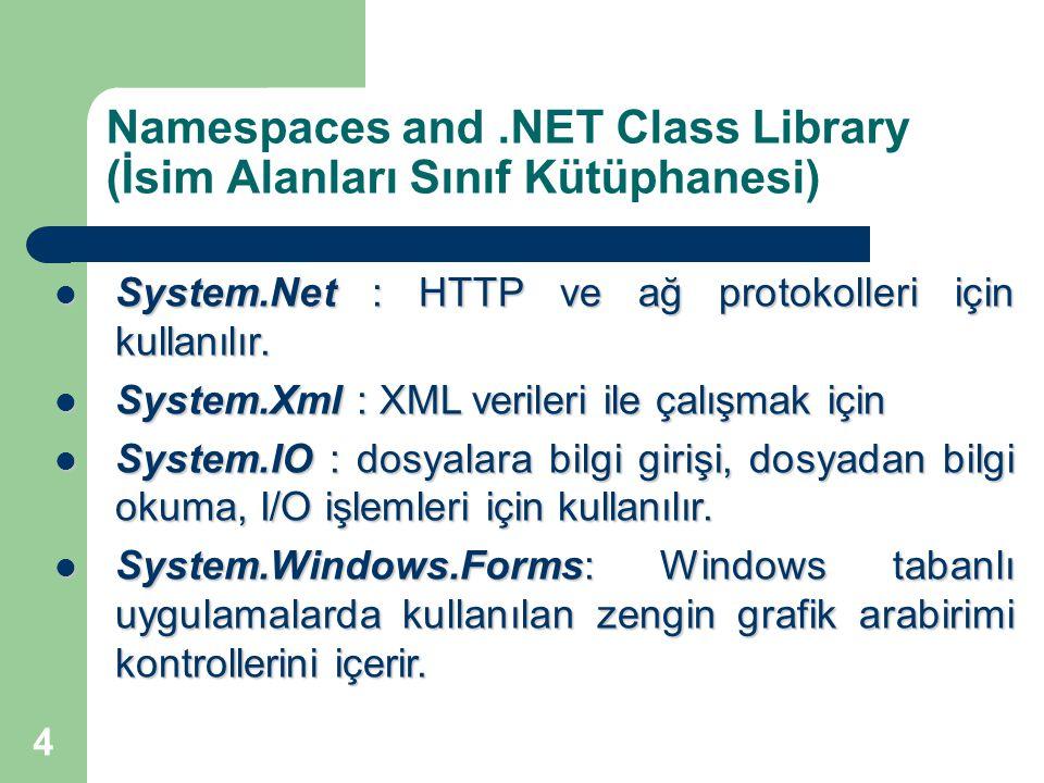 4 Namespaces and.NET Class Library (İsim Alanları Sınıf Kütüphanesi) System.Net : HTTP ve ağ protokolleri için kullanılır. System.Net : HTTP ve ağ pro