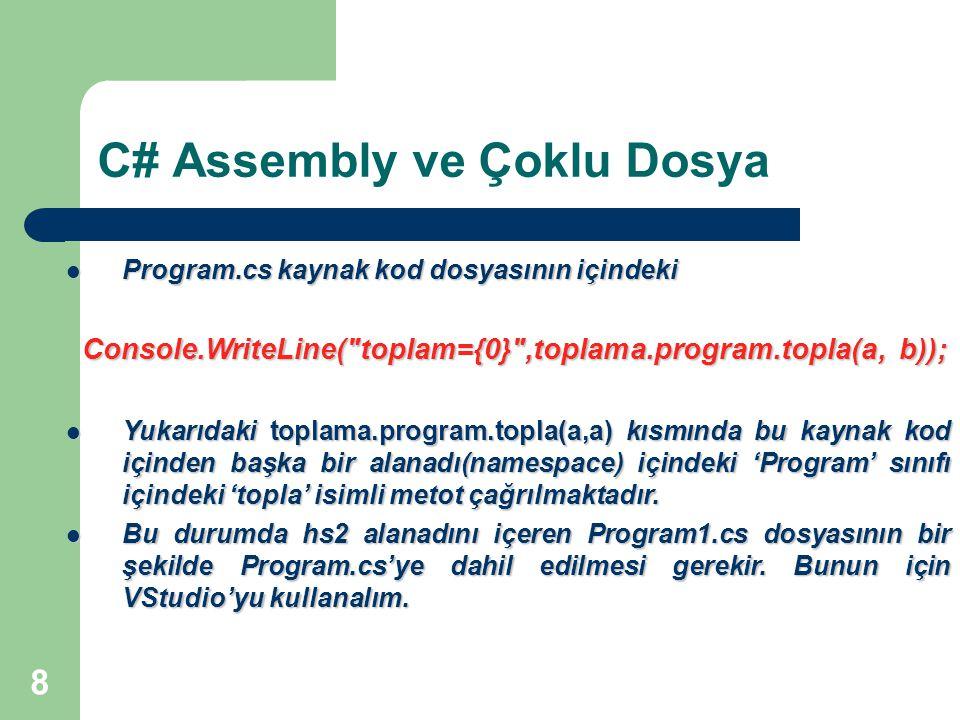 8 C# Assembly ve Çoklu Dosya Program.cs kaynak kod dosyasının içindeki Program.cs kaynak kod dosyasının içindeki Console.WriteLine( toplam={0} ,toplama.program.topla(a, b)); Console.WriteLine( toplam={0} ,toplama.program.topla(a, b)); Yukarıdaki toplama.program.topla(a,a) kısmında bu kaynak kod içinden başka bir alanadı(namespace) içindeki 'Program' sınıfı içindeki 'topla' isimli metot çağrılmaktadır.