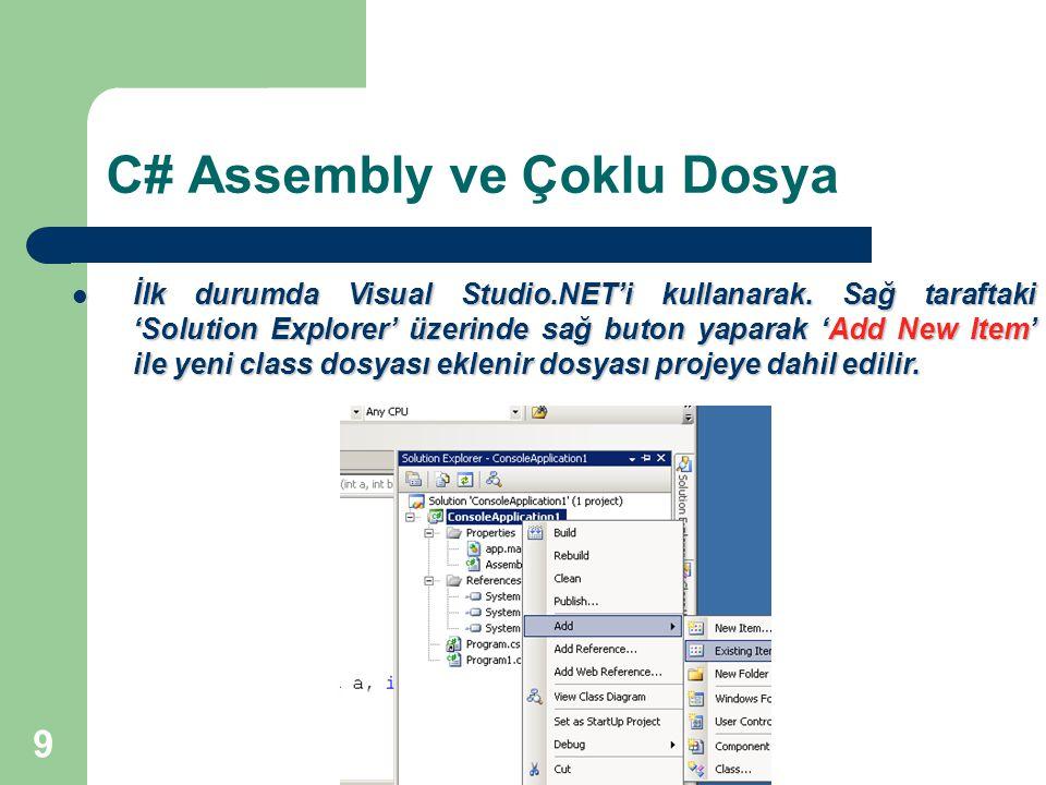 9 C# Assembly ve Çoklu Dosya İlk durumda Visual Studio.NET'i kullanarak. Sağ taraftaki 'Solution Explorer' üzerinde sağ buton yaparak 'Add New Item' i