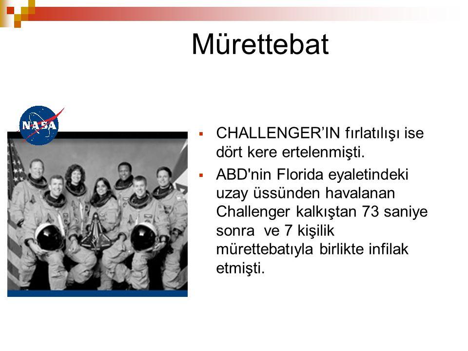Mürettebat  CHALLENGER'IN fırlatılışı ise dört kere ertelenmişti.  ABD'nin Florida eyaletindeki uzay üssünden havalanan Challenger kalkıştan 73 sani