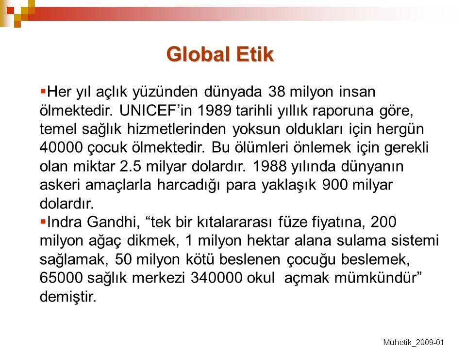 Global Etik  Her yıl açlık yüzünden dünyada 38 milyon insan ölmektedir. UNICEF'in 1989 tarihli yıllık raporuna göre, temel sağlık hizmetlerinden yoks