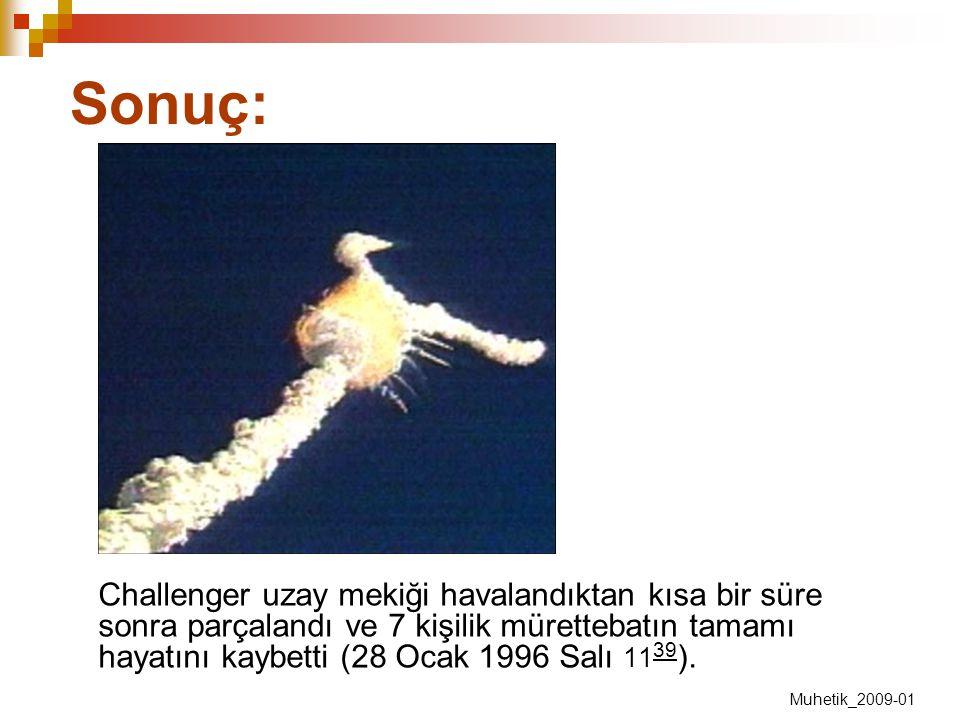 Sonuç: Challenger uzay mekiği havalandıktan kısa bir süre sonra parçalandı ve 7 kişilik mürettebatın tamamı hayatını kaybetti (28 Ocak 1996 Salı 11 39