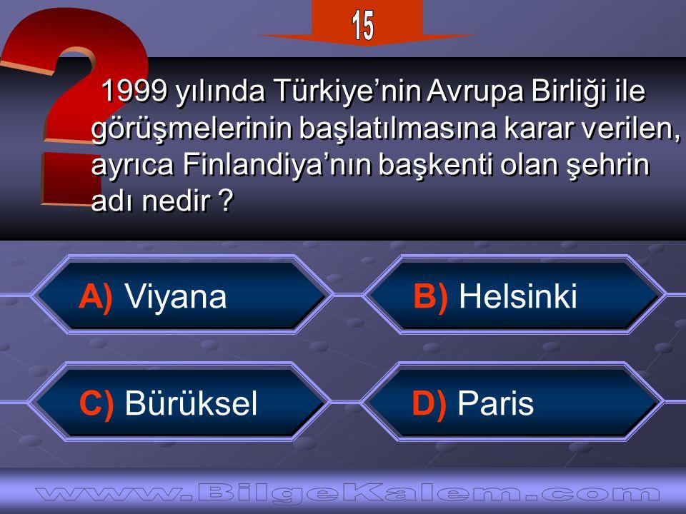 1999 yılında Türkiye'nin Avrupa Birliği ile görüşmelerinin başlatılmasına karar verilen, ayrıca Finlandiya'nın başkenti olan şehrin adı nedir .