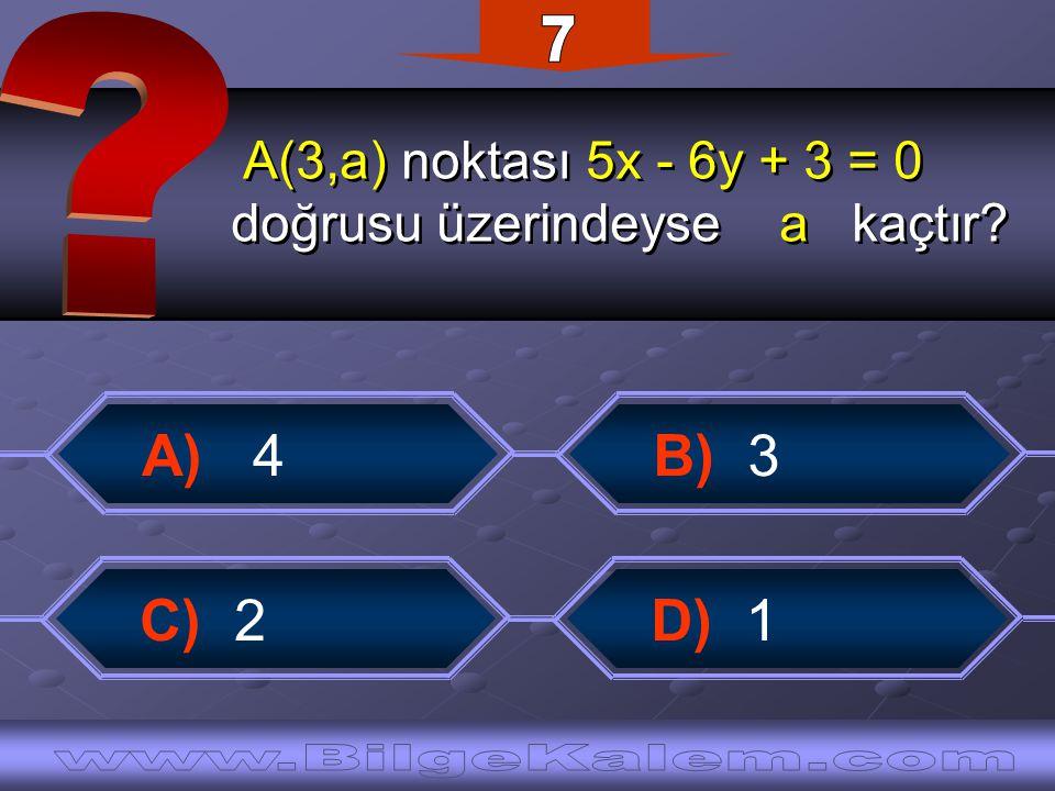 A(3,a) noktası 5x - 6y + 3 = 0 doğrusu üzerindeyse a kaçtır.