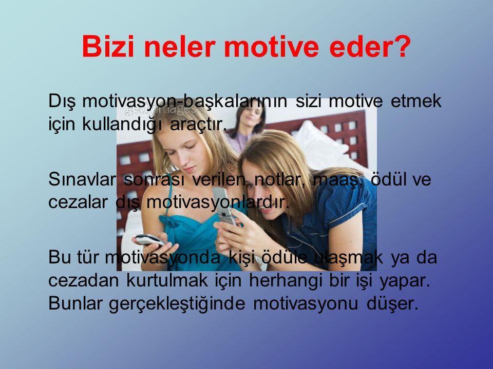 Bizi neler motive eder.Dış motivasyon-başkalarının sizi motive etmek için kullandığı araçtır.