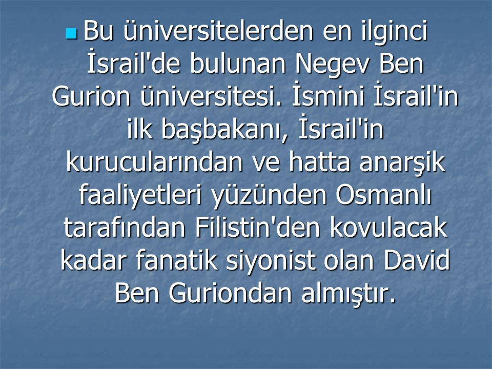 Bu üniversitelerden en ilginci İsrail'de bulunan Negev Ben Gurion üniversitesi. İsmini İsrail'in ilk başbakanı, İsrail'in kurucularından ve hatta anar