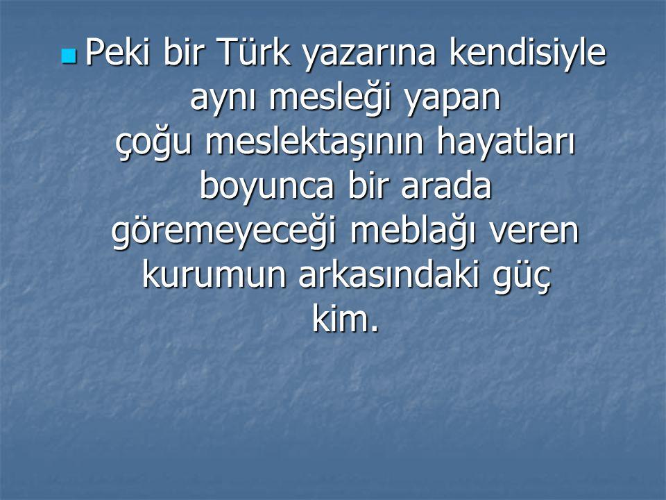 Peki bir Türk yazarına kendisiyle aynı mesleği yapan çoğu meslektaşının hayatları boyunca bir arada göremeyeceği meblağı veren kurumun arkasındaki güç