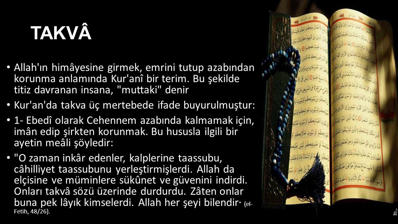 TAKVÂ Allah'ın himâyesine girmek, emrini tutup azabından korunma anlamında Kur'anî bir terim. Bu şekilde titiz davranan insana,