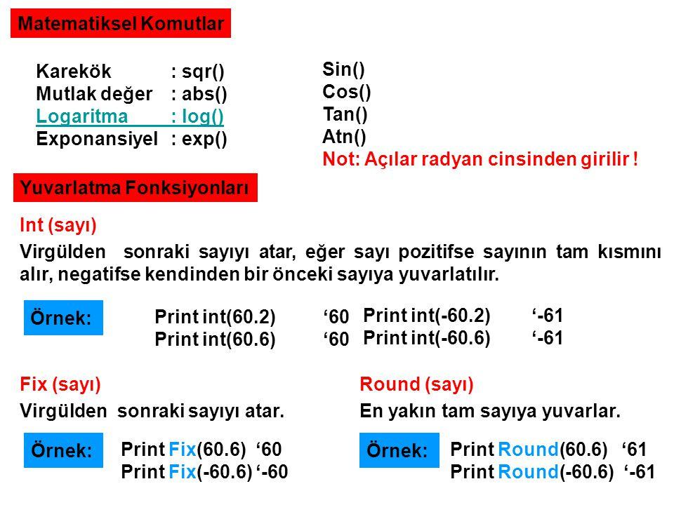 Matematiksel Komutlar Karekök: sqr() Mutlak değer: abs() Logaritma: log() Exponansiyel: exp() Sin() Cos() Tan() Atn() Not: Açılar radyan cinsinden gir
