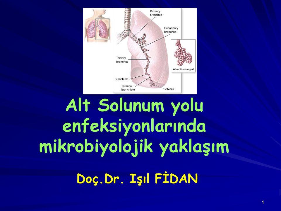 32 BALGAMIN MAKROSKOPİK İNCELEMESİ Balgamın hacminde artış (akciğer absesi, bronşektazi) Pürülan balgamda çizgi şeklinde kan (Tbc) Kahverengimsi kanlı görünüm (Akc.gangreni) Pas ve çikolata renginde balgam (Pnömokok pnömonisi) Pürülan, yeşilimsi balgam (Pseudomonas, abse, neoplazm) Kötü kokulu balgam (Akc.gangreni, bronşektazi)