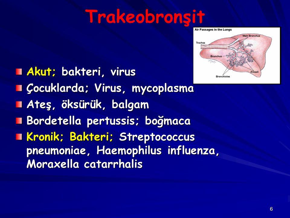 57 Mycoplasma Mycoplasma pneumoniae Toplu yaşanan yerlerde, gençlerde En sık primer atipik pnömoni etkeni, ayakta geçirilen pnömoni Ateş, titreme, kuru öksürük, başağrısı Lökosit normal olabilir Büllöz mirinjit (dış kulak yolu ve zarda hemorajik büller), otoimmün hemoliz