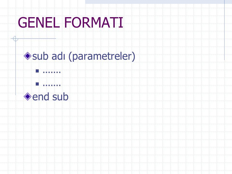 GENEL FORMATI sub adı (parametreler)....... end sub