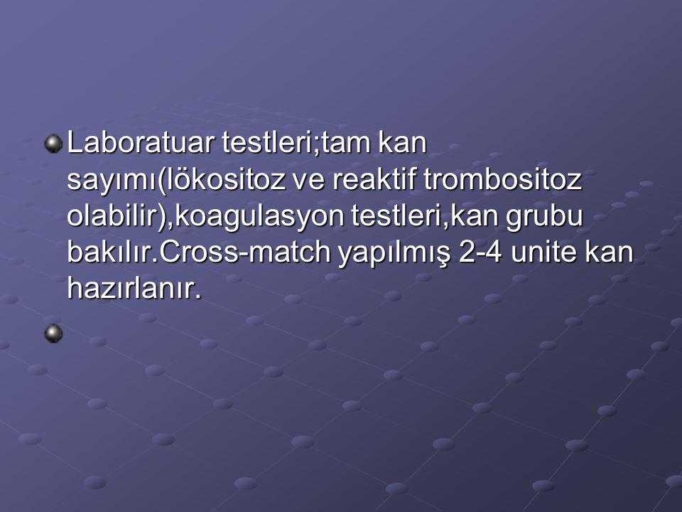 Laboratuar testleri;tam kan sayımı(lökositoz ve reaktif trombositoz olabilir),koagulasyon testleri,kan grubu bakılır.Cross-match yapılmış 2-4 unite ka