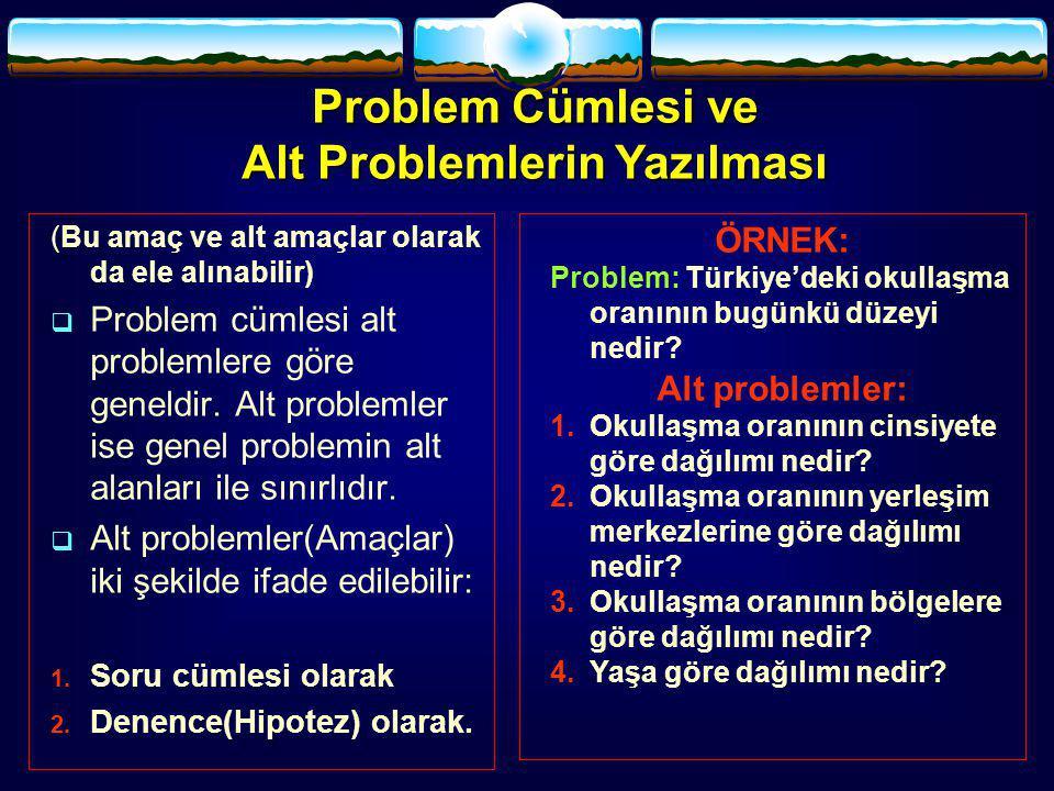 (Bu amaç ve alt amaçlar olarak da ele alınabilir)  Problem cümlesi alt problemlere göre geneldir. Alt problemler ise genel problemin alt alanları ile