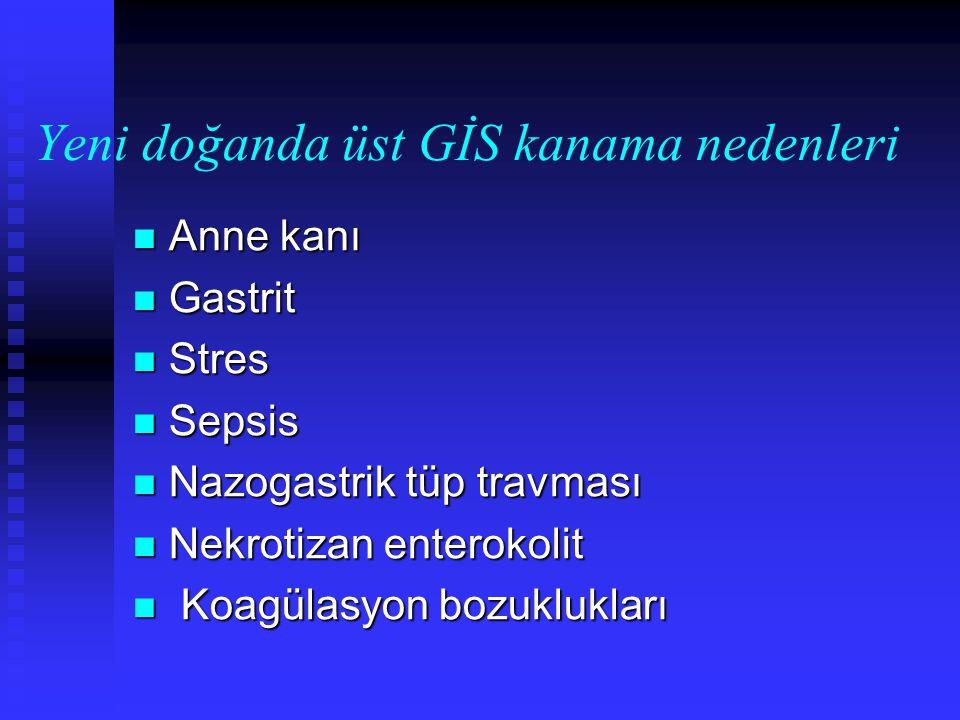 Yeni doğanda üst GİS kanama nedenleri Anne kanı Anne kanı Gastrit Gastrit Stres Stres Sepsis Sepsis Nazogastrik tüp travması Nazogastrik tüp travması