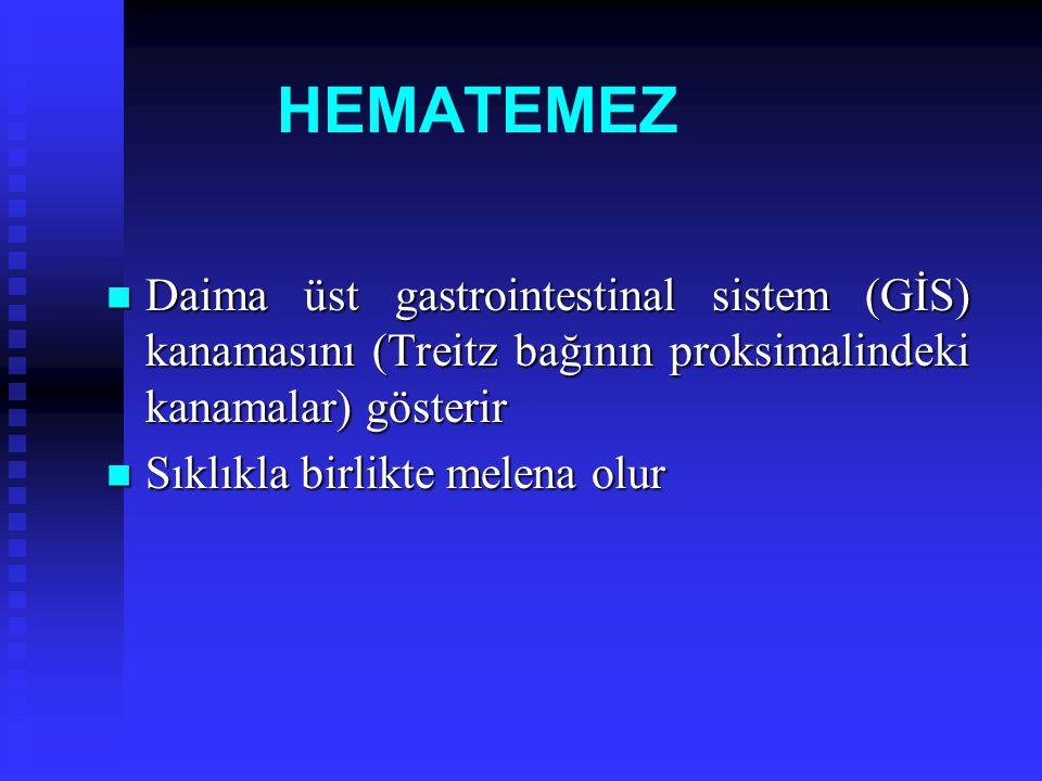 HEMATEMEZ Daima üst gastrointestinal sistem (GİS) kanamasını (Treitz bağının proksimalindeki kanamalar) gösterir Daima üst gastrointestinal sistem (Gİ