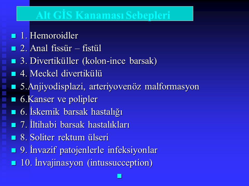 1. Hemoroidler 1. Hemoroidler 2. Anal fissür – fistül 2. Anal fissür – fistül 3. Divertiküller (kolon-ince barsak) 3. Divertiküller (kolon-ince barsak
