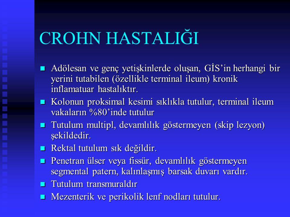 CROHN HASTALIĞI Adölesan ve genç yetişkinlerde oluşan, GİS'in herhangi bir yerini tutabilen (özellikle terminal ileum) kronik inflamatuar hastalıktır.