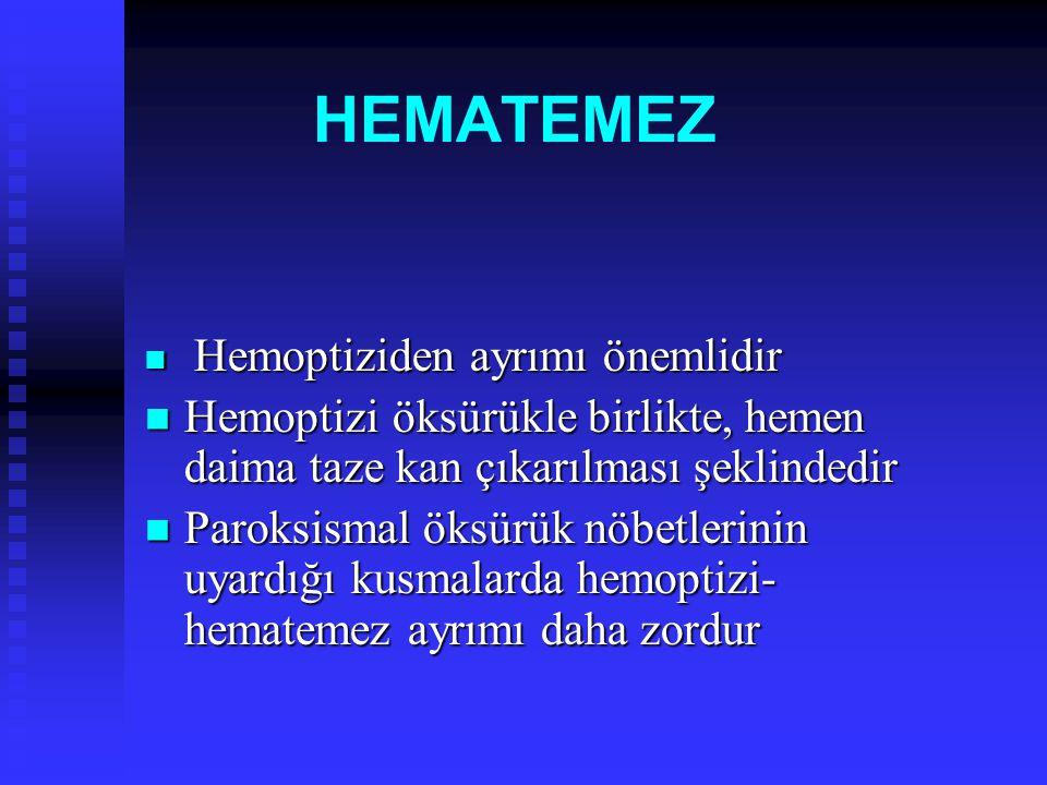HEMATEMEZ Hemoptiziden ayrımı önemlidir Hemoptiziden ayrımı önemlidir Hemoptizi öksürükle birlikte, hemen daima taze kan çıkarılması şeklindedir Hemop