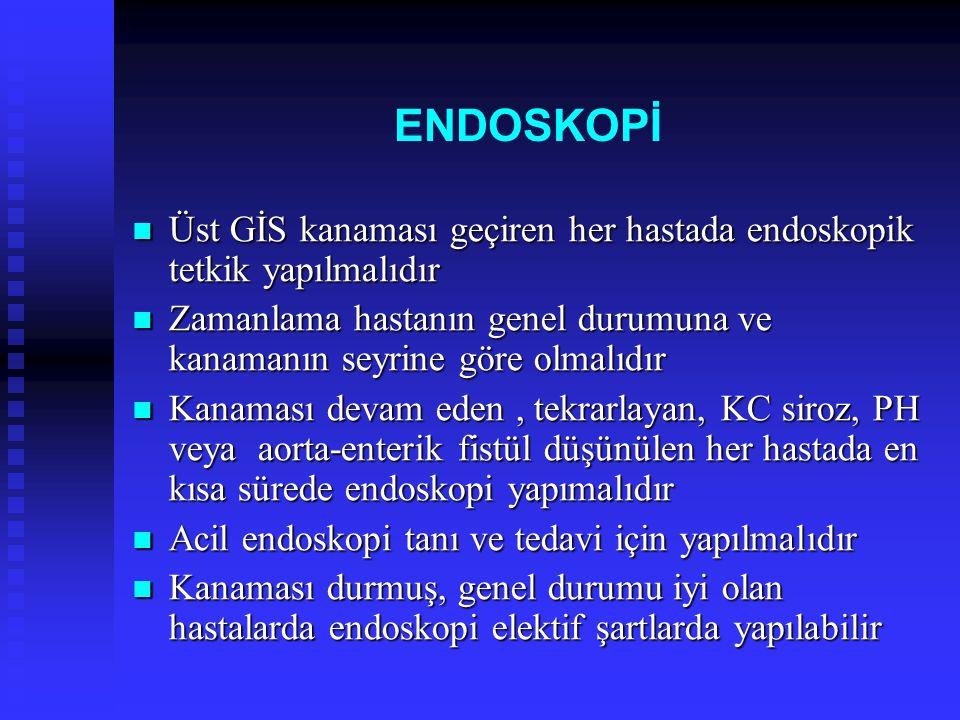 ENDOSKOPİ Üst GİS kanaması geçiren her hastada endoskopik tetkik yapılmalıdır Üst GİS kanaması geçiren her hastada endoskopik tetkik yapılmalıdır Zama
