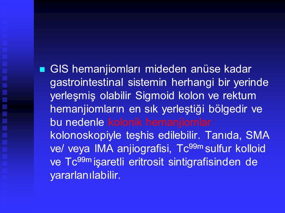 GIS hemanjiomları mideden anüse kadar gastrointestinal sistemin herhangi bir yerinde yerleşmiş olabilir Sigmoid kolon ve rektum hemanjiomların en sık